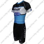 2015 Team QUICK STEP Short Sleeves Triathlon Biking Clothing Skinsuit Black Blue White