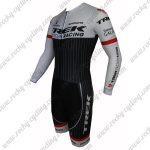 2015 Team TREK Long Sleeves Triathlon Biking Outfit Skinsuit White Black