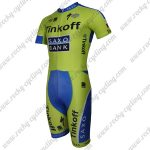 2015 Team Tinkoff SAXO BANK Short Sleeves Triathlon Cycling Wear Skinsuit Green Blue