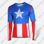 2015 Captain America Cycling Wear Long Sleeves T-shirt Blue Red