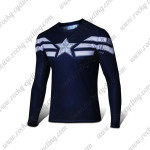 2015 Captain America Outdoor Sport Long Sleeves Cycling T-shirt Dark Blue