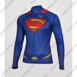 2015 Superman Cycling Long Jersey Blue Red