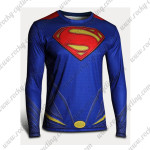 2015 Superman Outdoor Sport Long Sleeves Riding T-shirt Blue