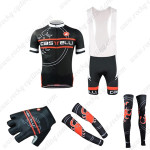 2015 Team Castelli Cycling Bib Kit+Gloves+Arm Warmers+Leg Warmers Black