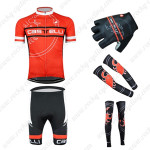 2015 Team Castelli Cycling Kit+Gloves+Arm Warmers+Leg Warmers Red