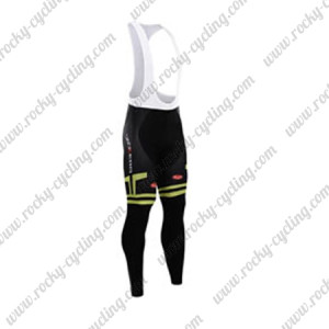 2015 Team Castelli Cycling Long Bib Pants Black White Green