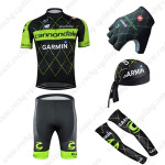 2015 Team GARMIN Cannondale Cycling Kit+Gloves+Bandana+Arm Warmers Black