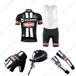 2015 Team GIANT Alpecin Cycling Bib Kit+Gloves+Bandana+Arm Warmers Black