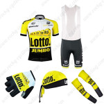 2015 Team LOTTO JUMBO Cycling Bib Kit+Gloves+Bandana+Arm Warmers Yellow Black