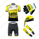 2015 Team LOTTO JUMBO Cycling Kit+Gloves+Bandana+Arm Warmers Yellow Black