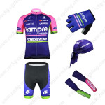 2015 Team Lampre MERIDA Cycling Kit+Gloves+Bandana+Arm Warmers Purple
