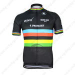 2015 Team QUICK STEP UCI Cycling Jersey Black Rainbow