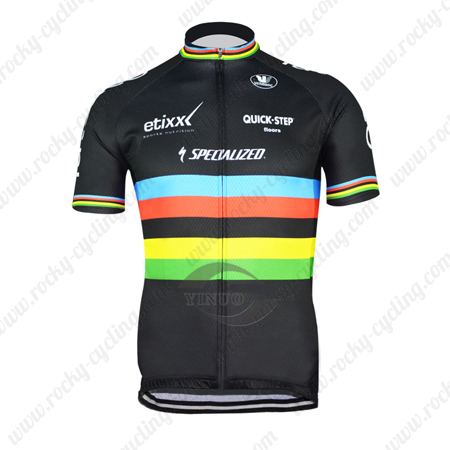 ... Riding Wear Bicycle Maillot Jersey Tops Shirt Black Rainbow. 2015 Team  QUICK STEP UCI Cycling Jersey Black Rainbow 2438a59d1