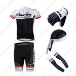 2015 Team TREK Cycling Kit+Gloves+Bandana+Arm Warmers White Black