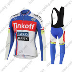 2015 Team Tinkoff SAXO BANK Bicycle Long Bib Kit Blue Red White