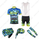 2015 Team Tinkoff SAXO BANK Cycling Bib Kit+Gloves+Bandana+Arm Warmers Blue