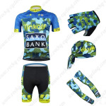 2015 Team Tinkoff SAXO BANK Cycling Kit+Gloves+Bandana+Arm Warmers Blue