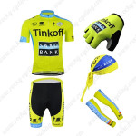 2015 Team Tinkoff SAXO BANK Cycling Kit+Gloves+Bandana+Arm Warmers Yellow