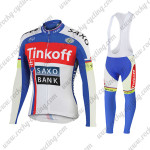 2015 Team Tinkoff SAXO BANK Cycling Long Bib Kit Blue Red White