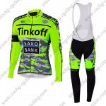 2015 Team Tinkoff SAXO BANK Cycling Long Bib Kit Camo Fluorescent Green