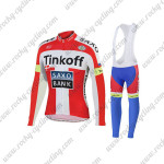2015 Team Tinkoff SAXO BANK Cycling Long Bib Kit Red White