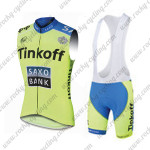 2015 Team Tinkoff SAXO BANK Cycling Sleeveless Vest Bib Kit Green Blue