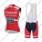 2015 Team Tinkoff SAXO BANK Cycling Sleeveless Vest Bib Kit Red