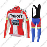 2015 Team Tinkoff SAXO BANK Riding Long Bib Kit Red White