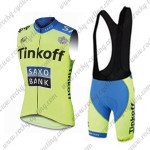 2015 Team Tinkoff SAXO BANK Riding Sleeveless Vest Bib Kit Green Blue