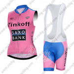 2015 Team Tinkoff SAXO BANK Women's Riding Sleeveless Vest Bib Kit Pink Blue