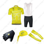 2015 Tour de France Cycling Bib Kit+Gloves+Bandana+Arm Warmers Yellow