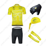 2015 Tour de France Cycling Kit+Gloves+Bandana+Arm Warmers Yellow
