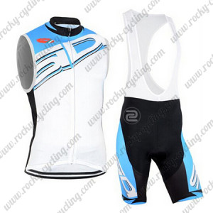 2015 Team SIDI Bicycle Sleeveless Bib Kit White Blue