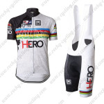 2015 Santini HERO UCI Champion Cycling Bib Kit White Rainbow
