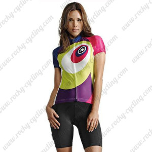 2015 Team ASSOS Women's Cycling Kit Red Purple Green