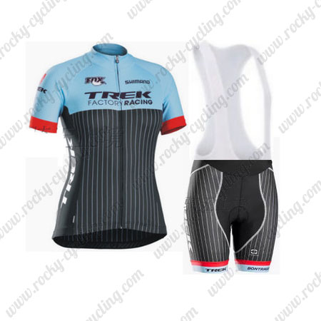 2015 Team TREK Ladies  Biking Outfit Cycle Jersey and Padded Bib Shorts  Blue Black 58b8786ee