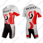 2012 Team SCOTT Racing Triathlon Cycling Wear Skinsuit White Red