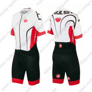 2016 Team Castelli Cycling Skinsuit White Red Black