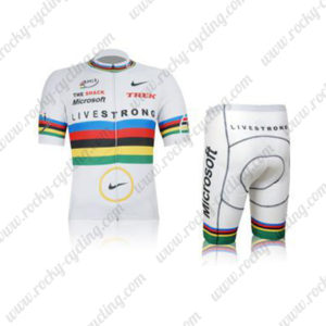 2012 Team LIVESTRONG TREK UCI Champion Cycling Kit White Rainbow