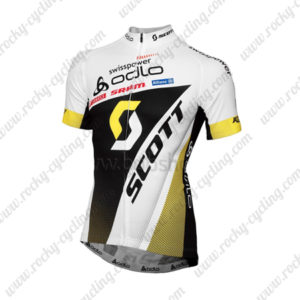 2013 Team odlo SCOTT Cycling Jersey Maillot Shirt White Black Yellow