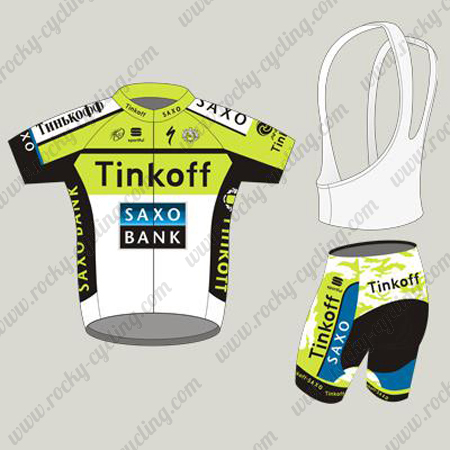 9eaf67867 ... Jersey and Padded Bib Shorts Pants Yellow White. 2015 Team Tinkoff SAXO  BANK Cycling Kit Green White