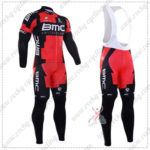 2016 Team BMC Cycling Long Bib Suit Red Black