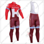 2016 Team KATUSHA Pro Cycling Long Bib Suit Red
