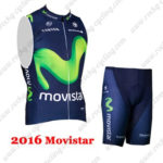 2016 Team Movistar Bicycle Sleeveless Vest Kit Blue