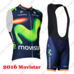 2016 Team Movistar Spain Biking Sleeveless Vest Bib Kit Blue