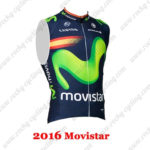 2016 Team Movistar Spain Cycle Sleeveless Vest Blue