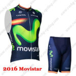 2016 Team Movistar Spain Cycle Sleeveless Vest Kit Blue