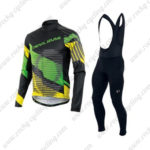 2016 Team Pearl Izumi Bicycle Long Bib Suit Black Green Yellow