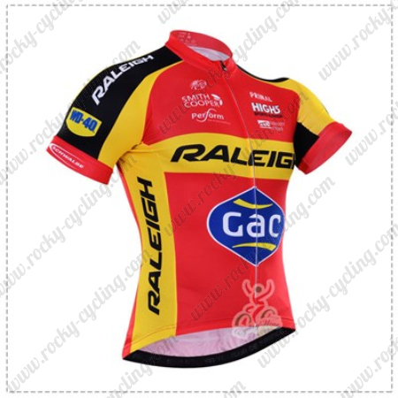 fe46514cd 2016 Team RALEIGH Gac Cycling Jersey Maillot Shirt Red Yellow