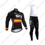 2016 Team SKY Rapha Spain Cycling Long Bib Suit Black